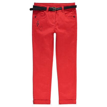 Pantalón slim de satén de algodón liso con cintura brillante extraíble de efecto cuero