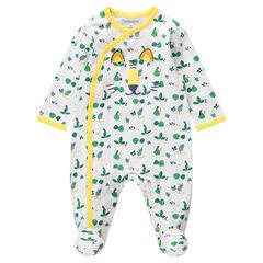 Pijama de algodón con estilo jungla all over y tigre de relieve