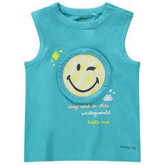 Camiseta de punto azul con parche de ©Smiley con flecos