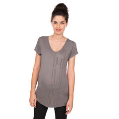Camiseta de manga corta y de premamá con letras bordadas