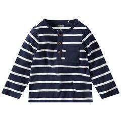 Camiseta de manga larga de rayas con bolsillo y cuello con botones