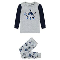 Pijama de punto con naves espaciales estampadas