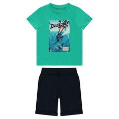 Conjunto de camiseta estampada con dinosaurio y bermudas lisos