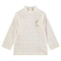 Camiseta de cuello alto de punto con rayas finas doradas y lazo de raso