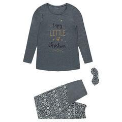Pijama de premamá 3 piezas con espiritu navideño