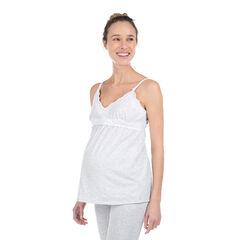 Camiseta homewear de premamña de algodón ecológico con encaje