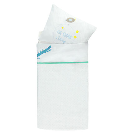 Conjunto de sábana + funda de almohada para cuna con motivo de cocodrilo