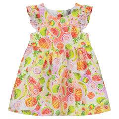 Vestido de tejido vaporoso con estampado de frutas