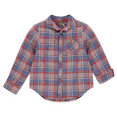 Camisa de manga larga de cuadros de fantasía con bolsillo
