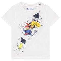 Camiseta de manga corta de punto con estampado de fantasía