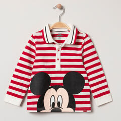 Polo manga larga de algodón bio estampado Mickey Disney