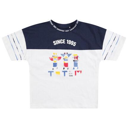 Camiseta de manga corta de punto bicolor con estampado de estilo étnico