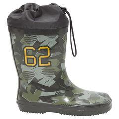 Botas de lluvia estampado militar con empeine impermeable