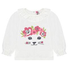 Camiseta de manga larga de punto de efecto tricot con gato estampado brillante