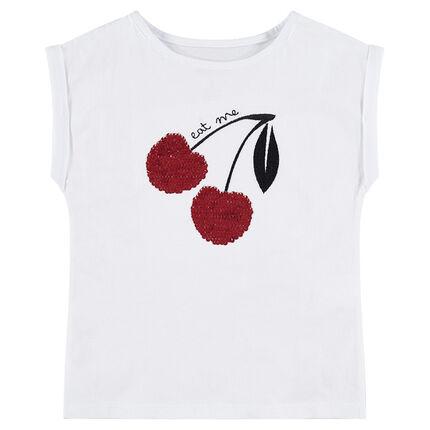 Camiseta de manga corta cuadrada con dibujo de cerezas de lentejuelas mágicas