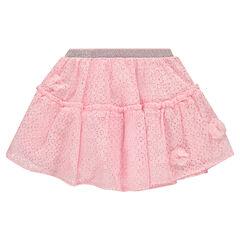 Falda de encaje con flores de tul y cintura brillante