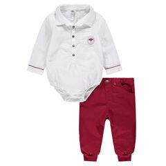 Body de manga larga de estilo camisero con pantalón de sarga en color rojo