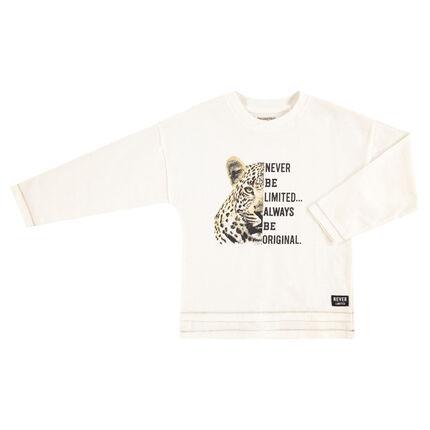 Camiseta de manga larga de punto con leopardo y texto estampado