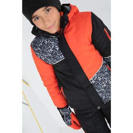 Júnior - Cazadora de esquí con estampado gráfico y bolsillos con cremallera