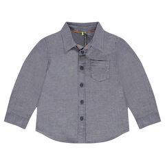 Camisa de manga larga con microchevrones y bolsillo
