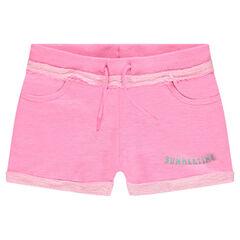 Shorts de felpa lisos con estampado en la pernera izquierda