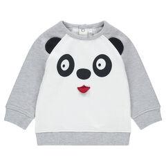 Sudadera de felpa bicolor con panda estampado