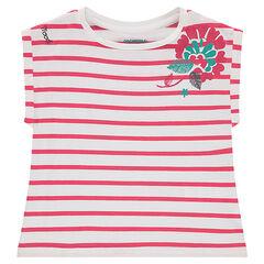 Camiseta de manga corta de forma cuadrada con estampado de flores