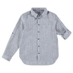 Júnior - Camisa de manga larga de rayas con bolsillo tipo parche