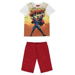 Pijama con camiseta de manga corta DC comics con estampado de Superman y bermudas