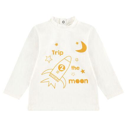 Camiseta interior de cuello alto con cohete y estrellas estampadas