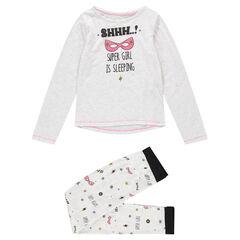 Júnior - Pijama de punto gris jaspeado con máscaras estampadas y textos
