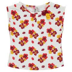 Camiseta de manga corta con estampado de flores