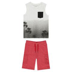 Júnior - Conjunto de camiseta sin mangas de efecto tie and dye y bermudas de felpa