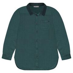 Júnior - Camisa de algodón de fantasía con cuello de terciopelo