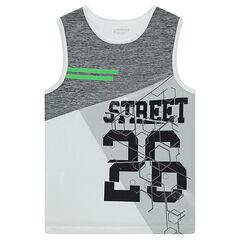 Camiseta sin mangas con estampado de estilo deportivo