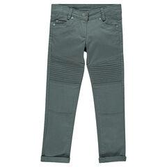 Pantalón skinny de sarga lisa con pespuntes