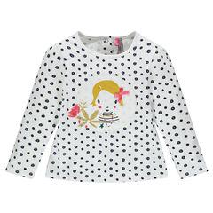 Camiseta de manga larga con lunares y parches de fantasía