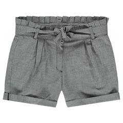 Júnior - Pantalón corto con microcuadros y cintura plisada