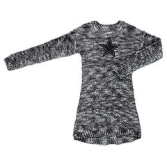 Júnior - Vestido de manga larga de punto mezclado con lazada cosida