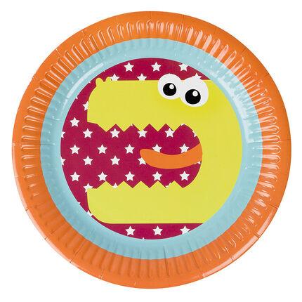 Juego de 10 platos de cumpleaños de cartón con dibujo de dragón