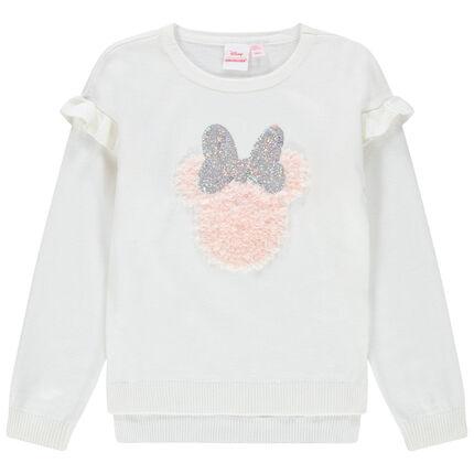 Jersey de punto con volante y dibujo de Minnie Disney de lentejuelas mágicas