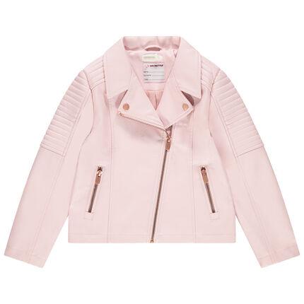 Perfecto de cuero de imitación rosa con bolsillos con cremallera
