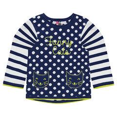 Jersey de punto tricotado con lunares y  rayas de jacquard