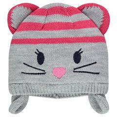 Gorro peruano de punto con detalles bordados y orejas de ratón