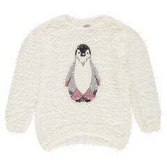 Jersey de punto con efecto bolas con pinguino de lentejuelas