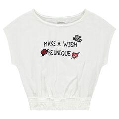 Júnior - Camiseta cuadrada de manga corta con mensaje estampado