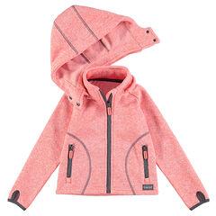 Chaqueta de esquí de tejido polar jaspeado con capucha desmontable y bolsillos con cremallera