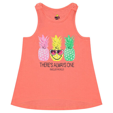 Camiseta de punto sin mangas con piñas estampadas