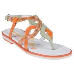 Nu-pieds bicolores en cuir avec bride pailletée