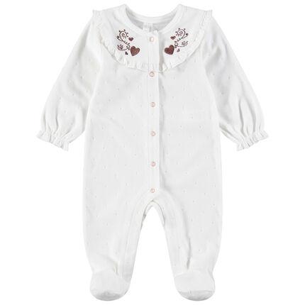 Pijama de terciopelo con cuello con volantes y finos bordados